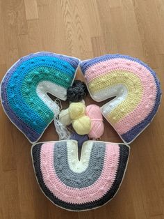 Rainbow Pillow, crocheted rainbow pillow, decorative pillow, rainbow bobble pillow, bohemian rainbow pillow, Handmade Baby Gifts, Handmade Crafts, Rainbow Crochet, Crochet Baby, Gifts For New Mums, Little Backpacks, Etsy Crafts, Soft Blankets, Kids Rooms