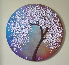"""Original Contemporary Fine Art White Lavender Blossom Tree Painting Abstract Landscape Ready to Hang 20"""" Round Canvas by ZarasShop"""