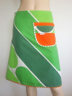 mod retro 60s 70s fashion ric-rac pocket skirt handmade by evilruby on Etsy green & orange