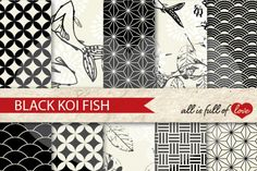 Japanese Digital Background Patterns in Black :: Graphics with quatrefoil, scalops, koi fish, leafs and more. You get 10 High Quality Sheets :: JPG files in Letter and A4 size with 300 dpi jpg, for perfect printing or digital use. These have so many uses, they are great for scrapbooking, crafts, party decor, DIY projects, blogs, stationery & more. All patterns are original and copyrighted by All is Full of Love
