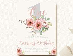 Floral elegant 1st birthday invitationbig one floral birthday floral birthday invitation boho flower girls first birthday filmwisefo