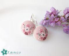 Pink flower earrings handmade silver by FancyHandmadeArmenia
