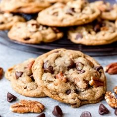 These Pecan Chocolate Chip Cookies are packed with semisweet chocolate chips and crunchy pecans in a browned butter cookie dough. Perfectly crisp around the edges and chewy through the middle, everybody raves about every bite of these nutty, chocolate-cra Chocolate Chip Pecan Cookie Recipe, Pecan Cookie Recipes, Pecan Shortbread Cookies, Oatmeal Chocolate Chip Cookies, Dessert Recipes, Chocolate Chips, Desserts, Chocolate Gravy, Frozen Cookies