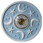 Children's Moon and Stars clock by Marie Ricci. Shown in distressed powder blue. www.mariericci.com  $200