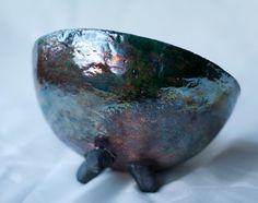 Ceramic bowl raku pottery multicolour copper by ClayLadyArt