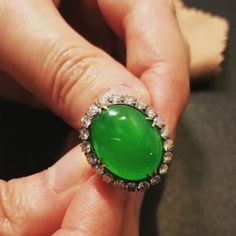 The_grand_mantra_ploy. Antique Green Apple  Imperial Burmese Jade Ring  Type A , over 100 years.