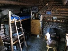 This is the interior of Dick's cabin. He made everything, from the bed to the bookcase, even the fireplace.