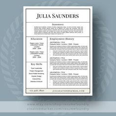 Resume References Page Modern Resume Template For Word 13 Page Resume  Cover Letter  .
