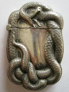 Antique Art Nouveau Sterling Silver Figural Snake Serpent Match Safe Vesta Case. I've never seen a laughing snake before!