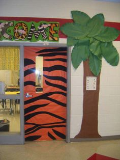 Jungle Door& & wild about learning! Jungle Classroom Door, Jungle Door, Classroom Fun, Classroom Design, Class Decoration, School Decorations, School Wide Themes, Safari Theme, Jungle Safari