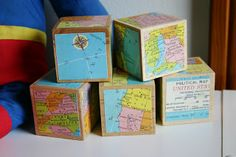 Sparkle Power!: Vintage Maps Wooden Blocks