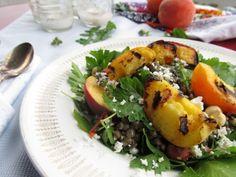 Grilled Peach & Lentil Parsley Salad
