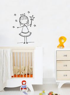 Little Fairy  Wall Decal  Wall Sticker by Caracarmina   (NOW AVAILABLE ON MY ETSY STORE!)