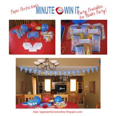 Here are a few pictures of how two of Paper Perfection's clients decorated and used the Minute To Win  It party printables  for their child...