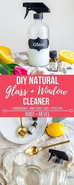 This homemade DIY natural glass and window cleaner with vinegar, alcohol, cornstarch and essential oils is ammonia-free, perfect for cleaning and washing windows and mirrors safely and effectively!