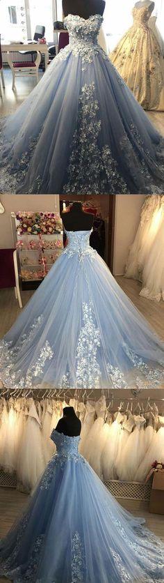 Blue sweetheart neck tulle lace applique long prom dress, blue evening dress #eveningdresses