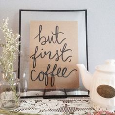 But First Coffee Calligraphy Print by whateverislovelydesg on Etsy
