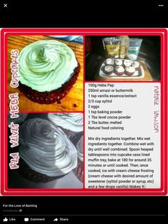Red Velvet cupcakes are all the rage - and now we have a banting version! Ingredients: Heba Pap amasi or buttermil. Pap Recipe, Low Carb Cupcakes, Banting Recipes, Natural Food Coloring, Thing 1, Low Carb Diet, Paleo Diet, Red Velvet Cupcakes, Vanilla Essence
