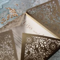 Gold Laser Cut Pocketfold Lace Flowers Wedding Invitation Laser Cut Wedding Stationery, Invitation Envelopes, Invites, Lace Flowers, Card Sizes, Laser Cutting, Digital Prints, Print Design, Finding Yourself
