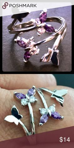 Valentines ❤️ Easter 🐣 Mother's Day 🌹all coming Amethyst & Crystal, .925 Silver Butterfly Ring. This is gorgeous and delicate. Jewelry Rings