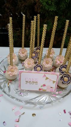 Pink and gold mason jar vintage birthday party cake pops! See more party ideas at CatchMyParty.com!