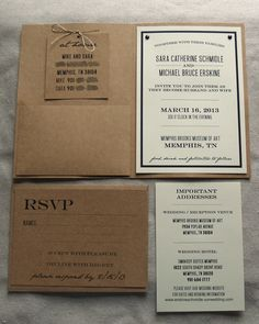 DIY Wedding Invitations that are a little more detailed, and easier to read with the light paper and kraft.