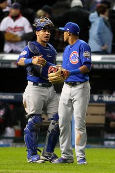Willson Contreras of the Chicago Cubs celebrates with Addison Russell after defeating the Cleveland Indians in Game Two of the 2016 World Series at Progressive Field on October 2016 in Cleveland, Ohio. Cubs Players, Baseball Players, Cleveland Indians Game, Cleveland Ohio, Chicago Cubs Baseball, Chicago Blackhawks, Wilson Contreras, Chicago Cubs World Series, Mlb Postseason