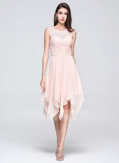A-Line/Princess Scoop Neck Asymmetrical Chiffon Bridesmaid Dress With Ruffle (007072251)