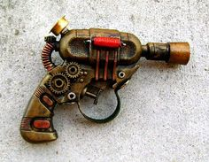 Items similar to Steampunk Airship Pirate Pistol Ray Gun Victorian Gothic Laser LARP Cosplay on Etsy Steampunk Airship, Steampunk Pirate, Steampunk Weapons, Dieselpunk, Steampunk Fashion, Steampunk Accessories, Neo Victorian, Rock Design, Leather Books