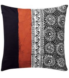 Cushion Cover - Black, Salmon, White; Marketplace Handwork of India