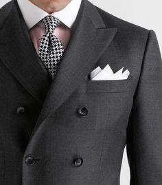 Paul Stuart. Contrast Collar. Double Breasted.