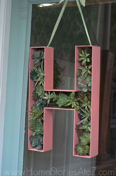 "Door Decor: How to Make a 3D Wood Letter Monogram ""Wreath""."
