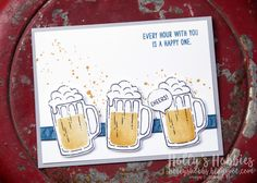Holly's Hobbies: Happy Hour for TGIFC72 - Mixed Drinks by @stampinup Masculine Birthday Cards, Birthday Cards For Men, Masculine Cards, Stampin Up Cards, Happy Hour, Happy Friday, Wine And Beer, Bar Drinks, Beverages