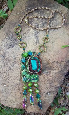 Malachite Seed Bead Embroidered Necklace by PaintedTreeStudio