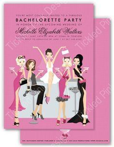 Bachelorette Bar Party Invitation #docmilo #bacheloretteparty #bar #cocktailparty #glamorousbride #tickledpinkdesign #tickledpink #tickledpinkdsn