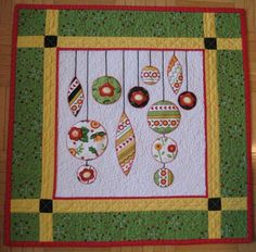 Christmas ornaments quilt block. Inspiration for machine embroidery ornament designs.