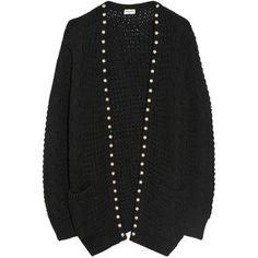 Saint Laurent Studded wool and cotton-blend cardigan