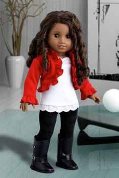 Uptown Girl - 4 piece outfit includes red ruffled jacket, white tank top, black leggings and boots - American Girl Doll Clothes Sewing Doll Clothes, Girl Doll Clothes, Doll Clothes Patterns, Girl Dolls, Doll Patterns, Ag Dolls, American Girl Crafts, American Doll Clothes, American Dolls