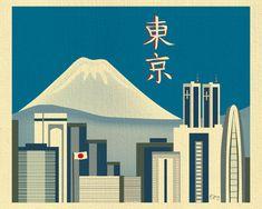 Tokyo Skyline Print & Mt. Fuji Japan Horizontal by LoosePetals