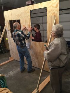 """Great-Grandpa, Great-Grandma and great-grandson Luke ALL working on our current TINYBEANS reunion project!  Grandma took the picture!  Tomorrow is the 3rd day on this project!  Ha!  Great-Grandpa thought we might be able to """"knock it out in one day!"""""""