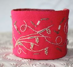 Honeysuckle Pink Fabric Hand Embroidered Cuff by Waterrose on Etsy,