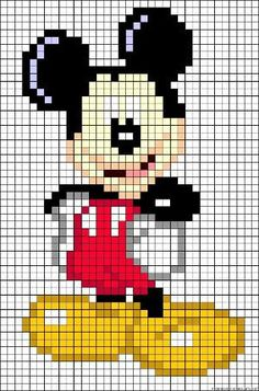 also could use for cross stitch too....Mickey Mouse perler bead pattern by alissa