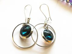 Beautiful Teal Pair of Earrings with Silver Plated Wire Hooks and Hoops, Nice ear bling! ET40116 by BlingItOutLoudCharms on Etsy