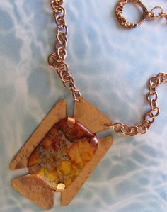 Sea Sediment Jasper and Copper Pendant Necklace OOAK. $40.00, via Etsy.