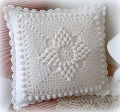 Handmade Crochet Pillow Cover /ecru cotton yarn with natural wood buttons,Christmas giftSee Free Footsteps, Charts, and Instructions. Crochet Pillow Cases, Crochet Cushion Cover, Crochet Pillow Pattern, Crochet Headband Pattern, Crochet Cushions, Crochet Motif, Crochet Flower Tutorial, Crochet Square Patterns, Baby Knitting Patterns