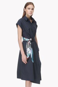 Drape skirt belted dress