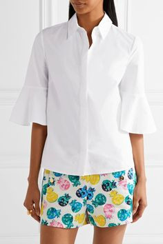 Draper James - Bell-sleeve Cotton-poplin Shirt - White - US10