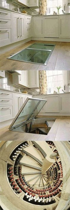 Trap door leading to a wine cellar. yes please! could be a great idea for a root cellar or pantry instead. I don't drink enough some to want a while wine cellar. Style At Home, Spiral Wine Cellar, Root Cellar, Beer Cellar, Trap Door, Sweet Home, Deco Design, Kitchen Flooring, Home Fashion