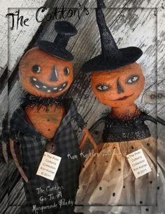 Veenas Mercantile Primitive Artist Doll by Kim Kohler Halloween Ornaments, Diy Halloween Decorations, Halloween Crafts, Happy Halloween, Halloween Witches, Pumpkin Faces, Doll Crafts, Hallows Eve, Doll Patterns