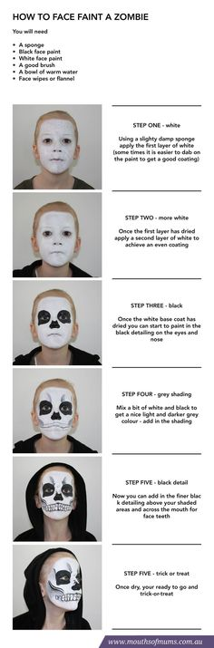 Mouths of Mums have put together a kids halloween face painting tutorial together to show you how to paint this super SCARY zombie face on your kids this Halloween. Holidays Halloween, Halloween Make Up, Halloween Crafts, Halloween Costumes, Halloween Zombie, Zombie Face, Zombie Makeup, Horror Makeup, Scary Makeup